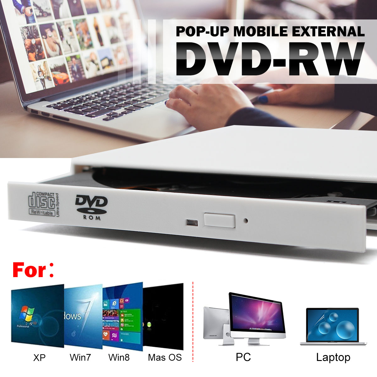 USB 2.0 Portable Ultra Slim External Slot-in DVD-RW CD-RW CD DVD ROM Player Drive Writer Rewriter Burner For PC