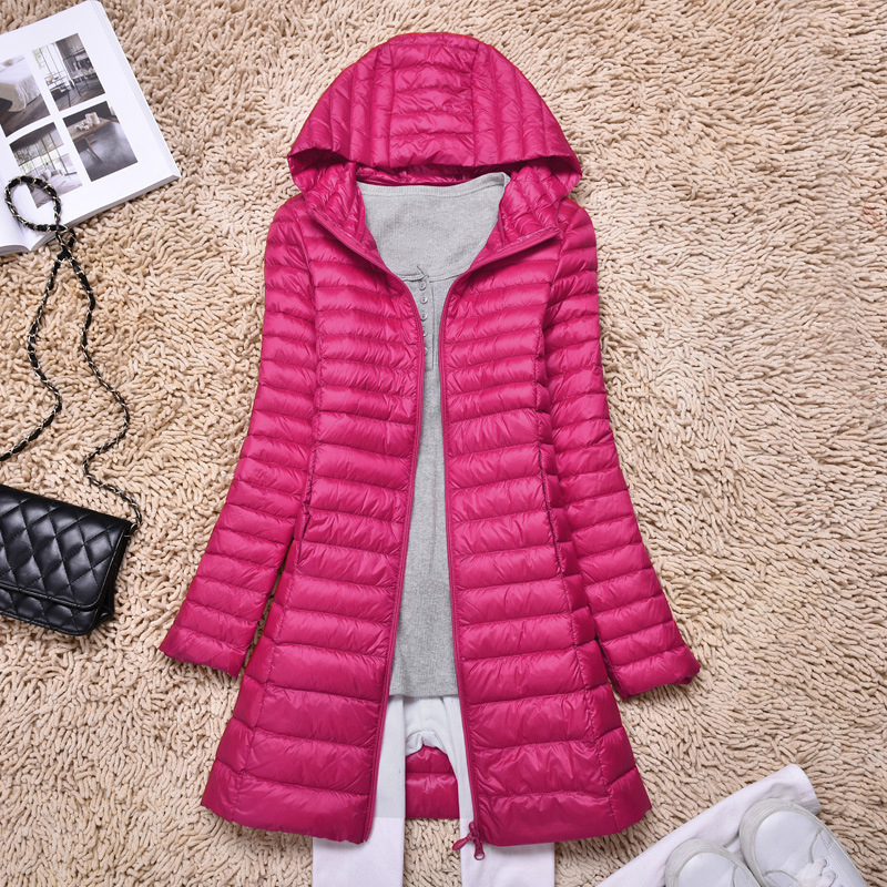 Women Mid-length long thick   down     coat   Ladies Ultralight 90% White Duck   Down     Coat   Jacket Winter Warm Outwear