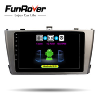 FUNROVER Android 8.0 9 2din car radio gps Multimedia player For Toyota Avensis 2009 2013 dvd navigation navi stereo WIFI RDS BT