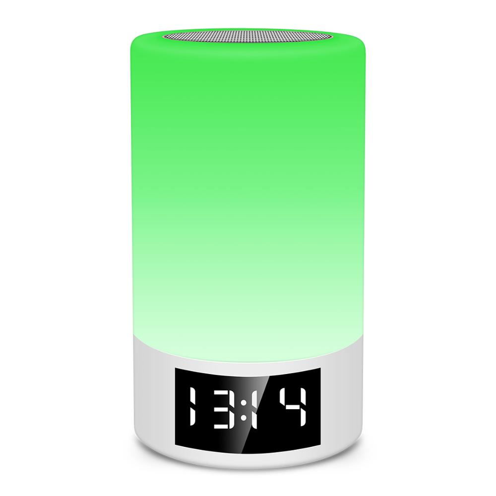 Night Alarm Clock Bluetooth Speakers Portable Touch Control Aux Loudpeakers Speakerbar Wireless Speakers For Smart Device