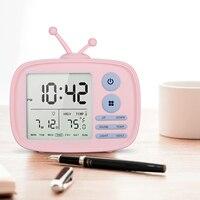 Usb Recarregável Tv Despertador Som ativado Lcd Tempo/temperatura/data/semana de Exibição Despertador Rosa /branco/Azul|Despertadores|   -