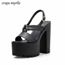 Platform Open Toe Women Sandals Ankle Strap Buckle Cut-outs Female Sandals Thick High Heels Shoes 2019 New Sandals Black YMA784
