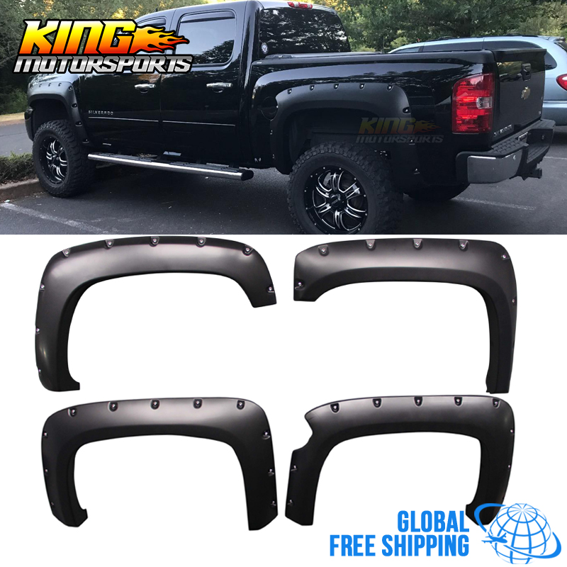 Fits 07 13 Silverado 1500 Short Bed 5 8 60 Pocket Rivet Style Fender Flares 4PCS
