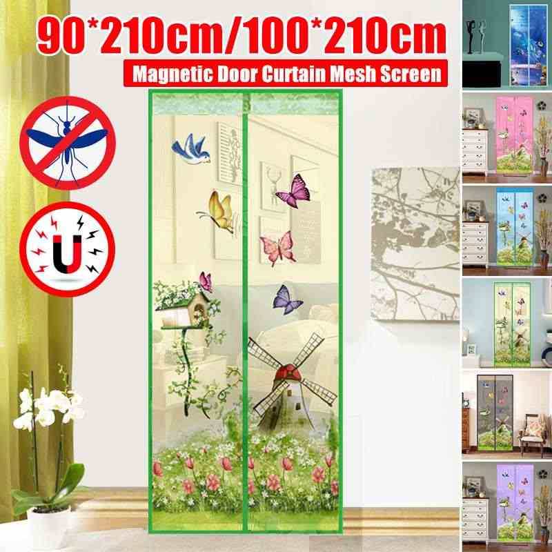 Summer Style Closing Mesh Mosquito Net Window Screens Curtain Anti Mosquito Tulle Shower Curtain Door Screen