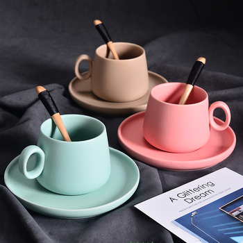 Exotic Coffee Cup Dish Set Macaron Colour Cappuccino Latte Wood Spoon Cafe Office Nespresso Glass Taza Gato Koffie Beker Tumbler
