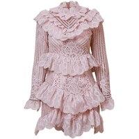 Новое поступление весна розовый/белый вязаный кружево выдалбливают Мини платье для женщин Элегантный с длинным рукавом оборками коротки