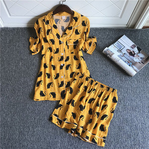 Image 2 - 2019 נשים פיג מה סטי עם מכנסיים קצרים חמוד כותנה פרח הדפסת קצר שרוול Pyjama קיץ Nightsuits פיג מה לנשים