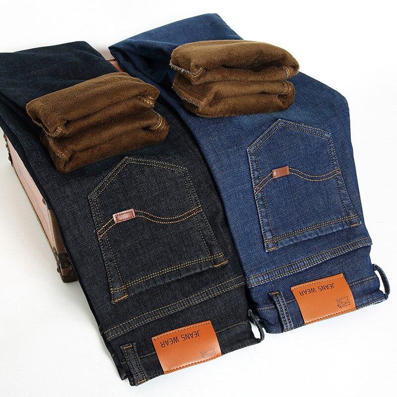 2019 New Men Activities Fleece Warm Jeans High Quality Famous Brand Autumn Winter Jeans Warm Flocking Stretch Soft Men Jeans