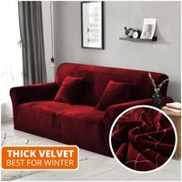 1/2/3/4 Seater Red Soft Thick Velvet Sofa Cover Living Room Couch Covers Stretch Elastic Sectional Slipcovers for Winter