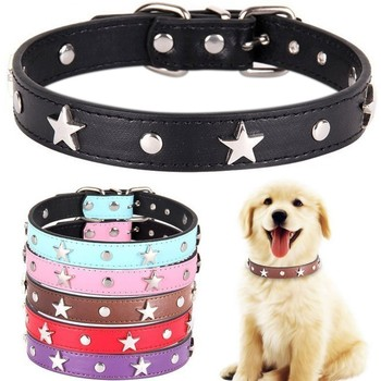 6 Colors Star Studded Dog Collar Leather Puppy Neck Strap Cat Collar Adjustable Pet Collars For Small Medium Dogs Neck Strap cat collar pet supplier pet accessories pet calm collar adjustable tpr neck strap cat small dog soothing collar