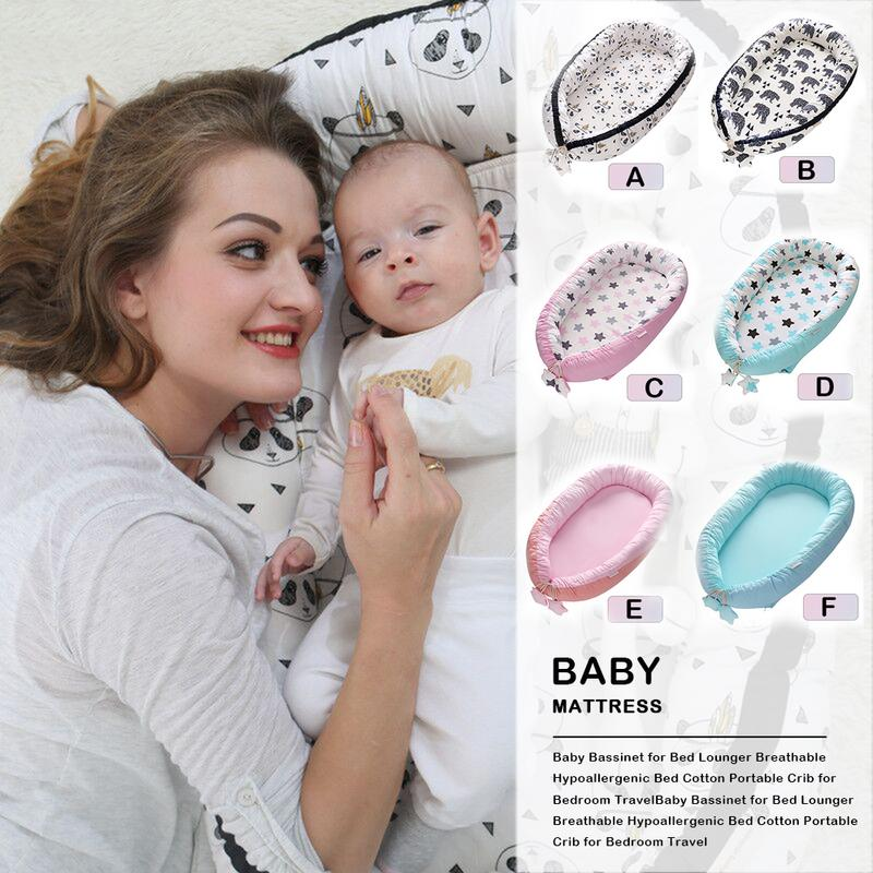 Portable Baby Nest Crib Nursery Travel Bed Lounger Breathable Hypoallergenic Bed Cotton Portable Crib For Bedroom Travel