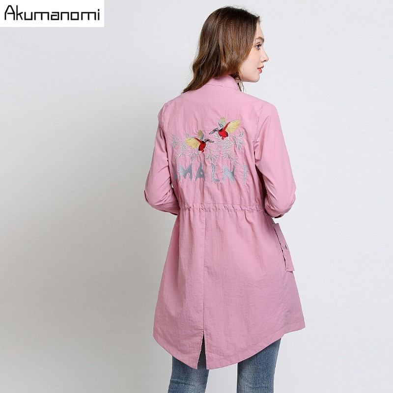 Spring Autumn Trench Pink Mandarin Collar Full Sleeve Women's Coat Pocket Single Breasted High Quality Plus Size 5XL 4XL 3XL-L