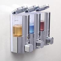 Wall mounted Hotel Toilet Bathroom Soap Dispenser Plastic Three Head Shampoo Conditioner Shower Gel Dispenser