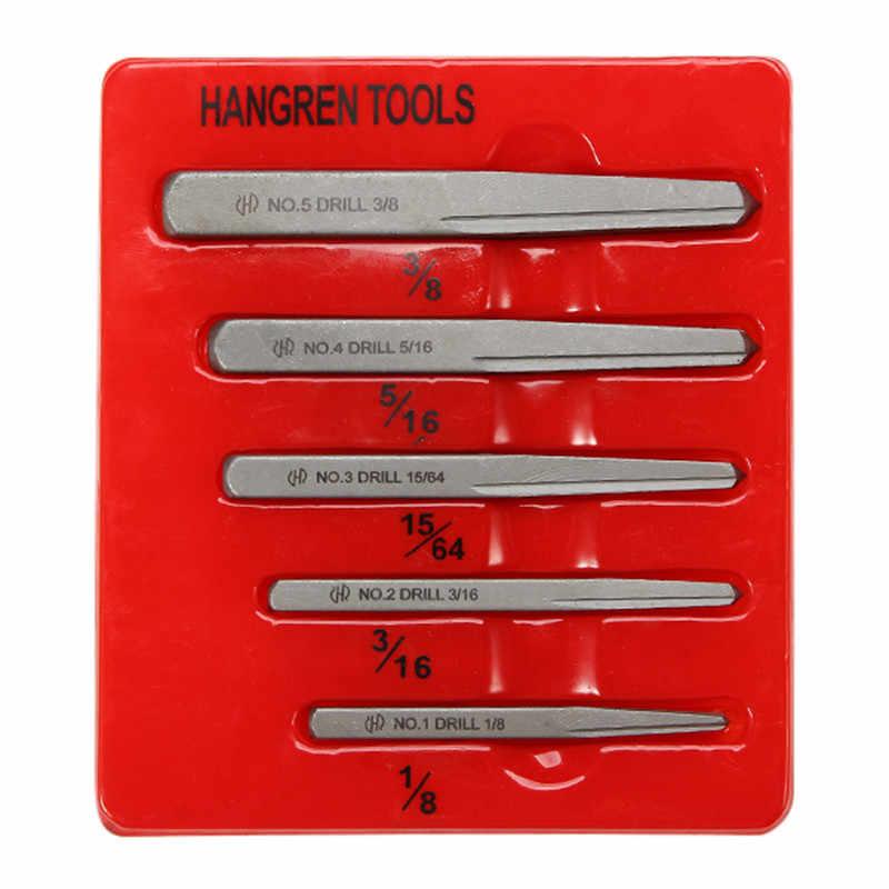 5 pçs 1/8 3/16 15/64 5/16 3/8 Polegada danificado porca parafuso extrator kit guia conjunto parafuso parafuso prisioneiro quebrado quadrado removedor kit ferramenta tira