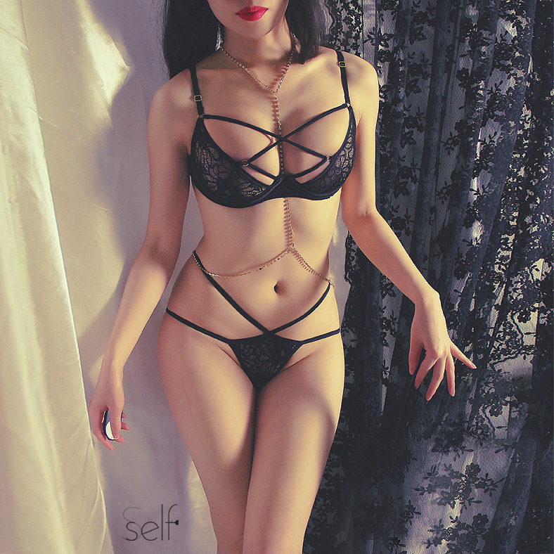 French Ultra thin Underwire Push Up Lace Bondage Bra Thong Underwear Sexy Lingerie Women Bra Panty Sets  Intimo Donna Completino-in Bra & Brief Sets from Underwear & Sleepwears