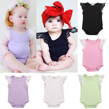 Lace Fly Sleeve Baby Rompers 100% Cotton Soft Infant Girls Sleeveless Solid Baby Clothes Jumpsuit Outfits New Born Baby Clothes(China)