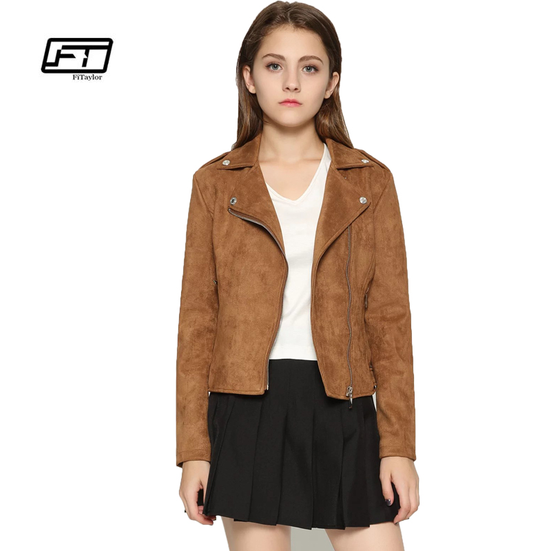 Fitaylor New 2019 Spring Autumn Women Faux   Suede   Jacket Motorcycle Faux   Leather   Jacket Slim Turn-down Collar Short Design Jacket