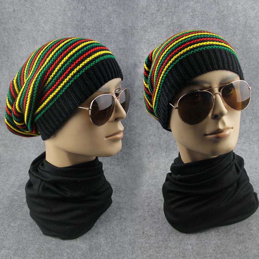 Winter Warm   Beanies   Unisex Rainbow Stripe Wool Cap Stylish Reggae Hat   Beanie   Stripe Brim   Skullies   Winter   Beanies