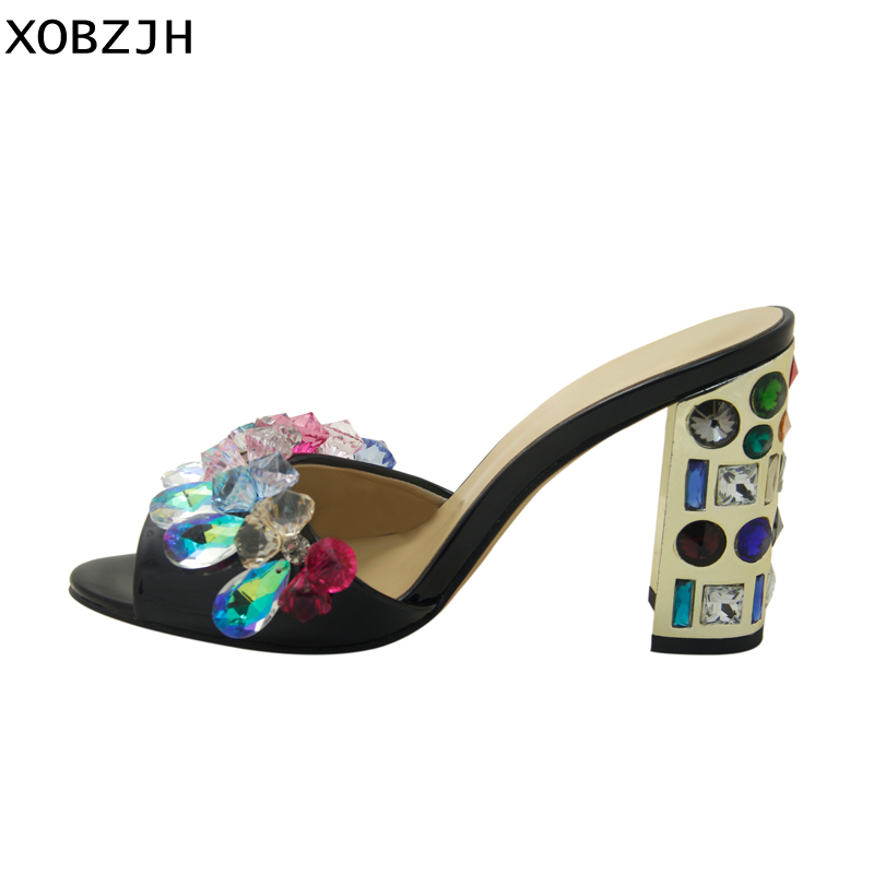 Image 3 - Luxury Sandals Women Shoes 2019 Leather Black Crystal High Heels Peep Toe Rhinestone Brand designer Sandals wedding Shoes Woman-in High Heels from Shoes