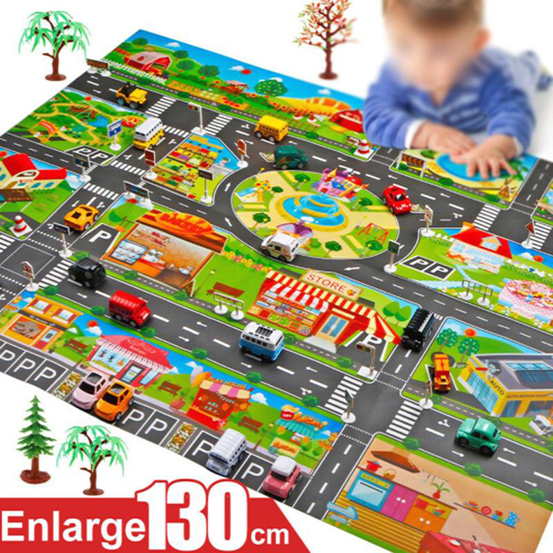 Kids' Floor Games Play Mat City Road Buildings Parking Map Baby Mat Educational Toys Home Traffic Map Kids Carpet