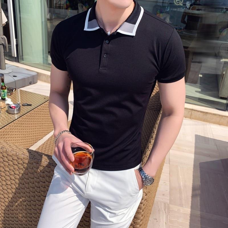 100% QualitäT 2019 Neue Kurzarm Polo Shirt Männer Slim Fit Herren Polo Shirt Hohe Qualität Sommer Atmungs Casual Polos Para Hombre 3xl-m