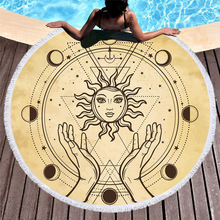 Tarot Round Beach Towel With Tassels Microfiber Sun Moon Hand Printed Witchcraft Summer Yoga Mat Blanket Large Bath Toalla