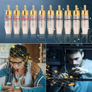 Image 2 - 10 pçs/set Conector RCA Conector de Áudio e Vídeo De Solda Plug RCA DIY Speaker Plug Adapter para DIY Cabo de Áudio e Vídeo