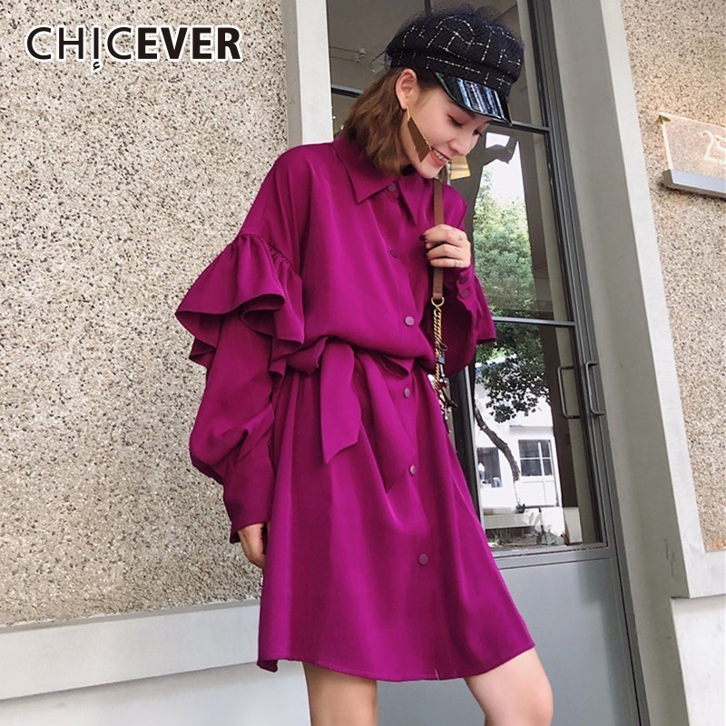 CHICEVER Ruffles Dresses For Women Lantern Sleeve High Waist Bow Bandage Purple Dress Female Autumn Korean Fashion Clothing Tide