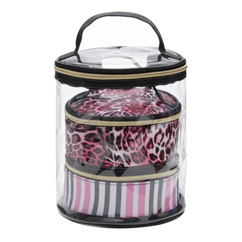 PVC Transparent Cosmetic Bag 3 Piece Set Waterproof Wash Bag Travel Portable Storage Bag Pink Leopard Printing Pattern