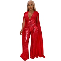 Women Cape Split Extra Long Sleeve Sequin Jumpsuit Elegant Deep V Neck Sexy Slim Romper Night Club Party Overall