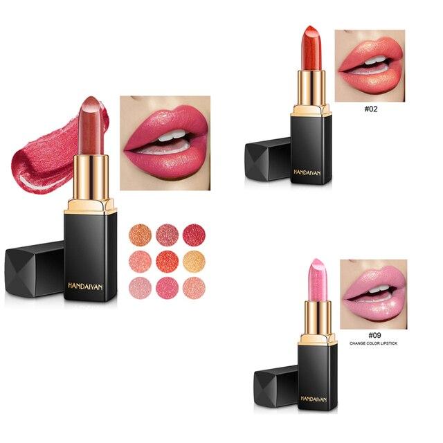 HANDAIYAN marca de maquillaje camaleón lápiz labial de larga duración perla brillo de labios de moda lápiz de labios de terciopelo rojo, maquiagem TSLM2