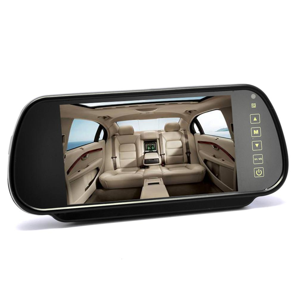 BEESCLOVER Car Rearview Mirror Display 7 Inch 12 24V Rearview Mirror Monitor - Touch Button Control 4:3 Ratio 800x480 RNO