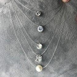 Женское прозрачное ожерелье с леской, серебряное ожерелье с невидимой цепочкой, женское колье со стразами, колье, Femme