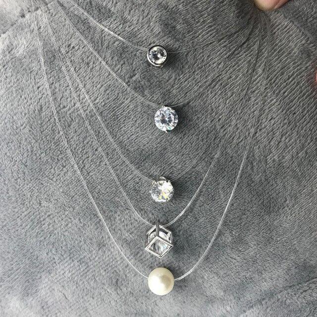 Fashion Square Imitation Pearl Cz Stone Crystal Zircon Necklace Invisible Transp