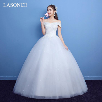 LASONCE Boat Neck Off The Shoulder Sequined Ball Gown Wedding Dresses Lace Appliques Short Sleeve Backless Bridal Gowns