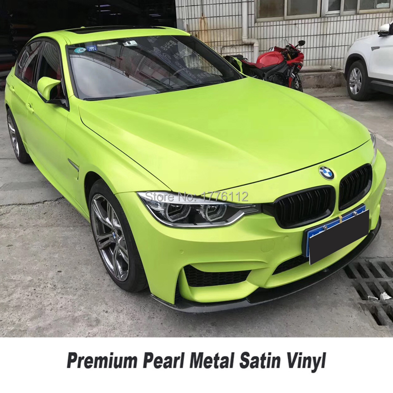Highest quality yellow green fluorescence matte metallic vinyl wrap film pearl metal wrap foil air bubble