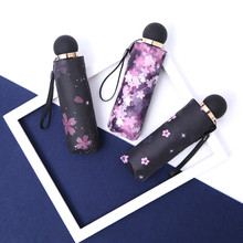 New 8 Ribs Light Five Fold Umbrella Mini Pocket Cherry blossoms Parasol Sunshade Rain Women