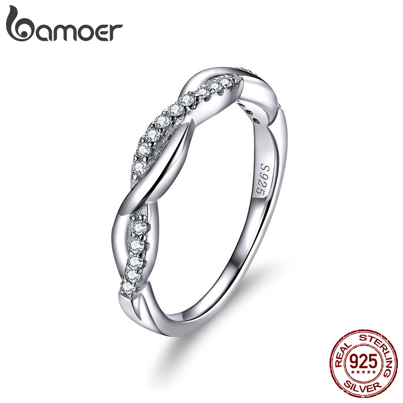 BAMOER Cubic Zirconia Sterling Silver 925 Infinity Finger Rings For Women Fine Jewelry With Austrian Crystals 2019 New SCR511