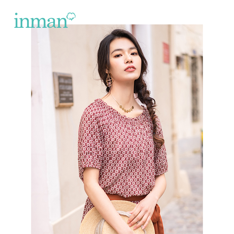 INMAN 2019 Summer New Arrival O-neck Retro Floral Holiday Style Casual All Matched Loose Slim Women Shirt