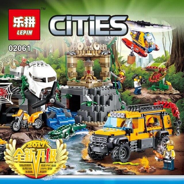60161 02061 870pcs Jungle Exploration Site รูปของเล่นอาคารใช้งานร่วมกับ Lego blocks อิฐเมืองสำหรับเด็ก-ใน บล็อก จาก ของเล่นและงานอดิเรก บน   1