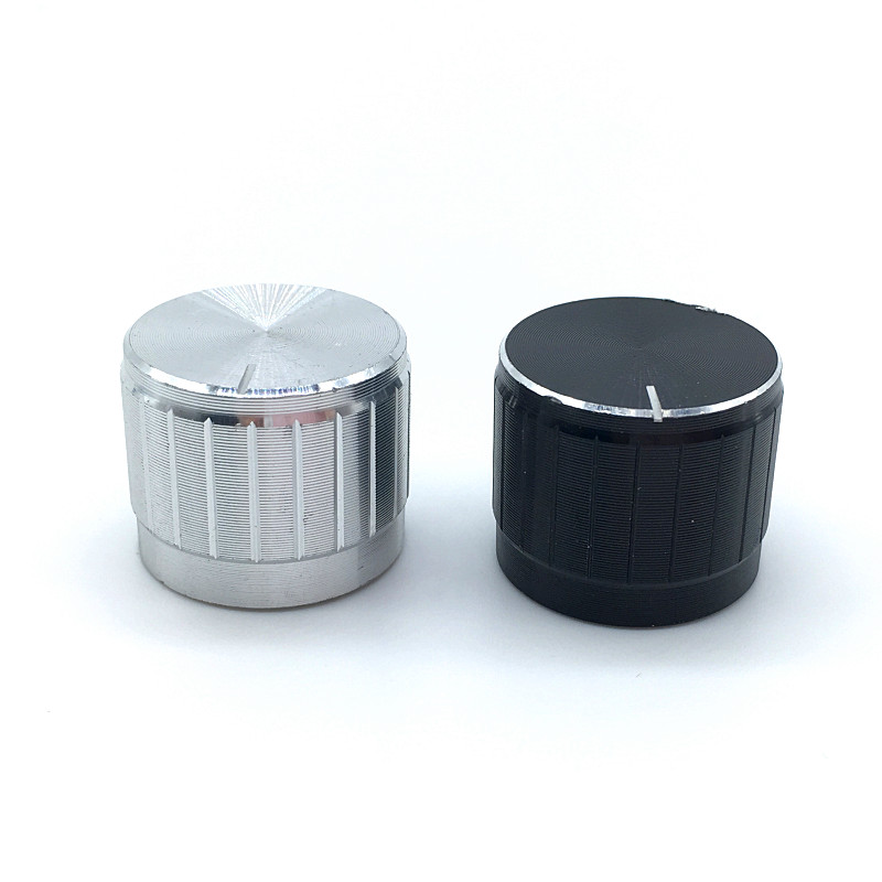 5pcs Black Silver Aluminium Alloy Switch Caps 21x17mm Potentiometer Knobs Encoder Switch Plum Shaft D Axis Shaft