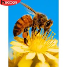 HUACAN Full Square Diamond Mosaic Flower And bee 5D DIY Diamond Painting Embroidery Rhinestones Decor Home Art Crafts(China)
