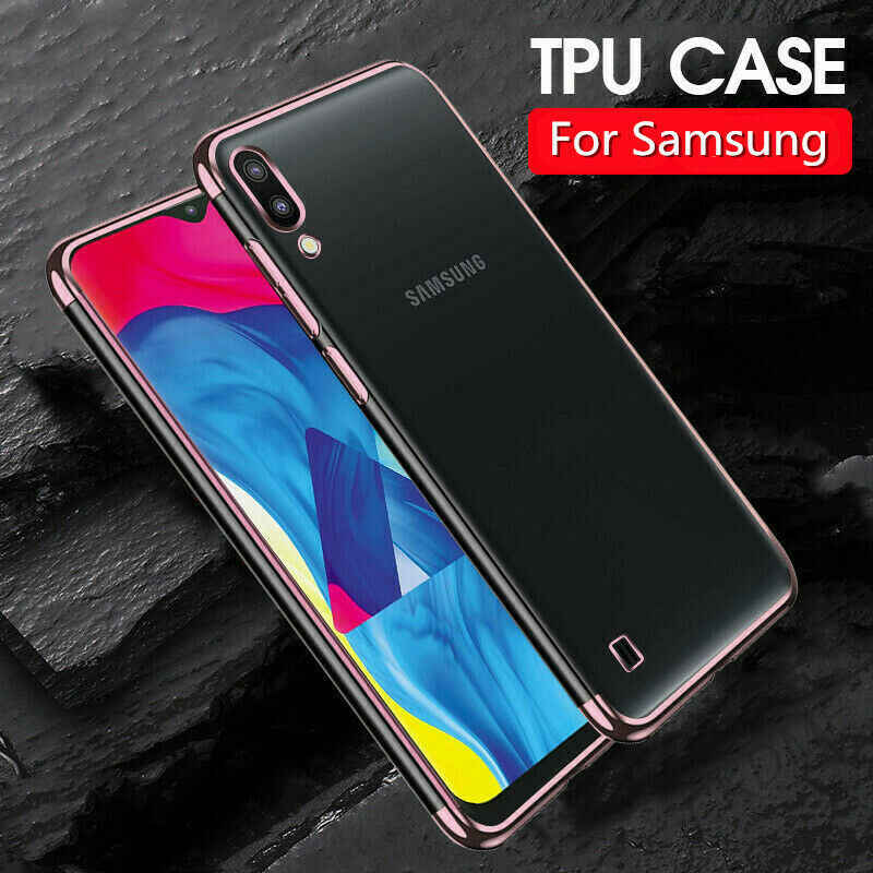 Transparent Plating Soft TPU Back Cover For Samsung Galaxy M30 M20 M10 A70 A40 A50 A30 S10 Plus S10e Soft Silicone Cases Shell