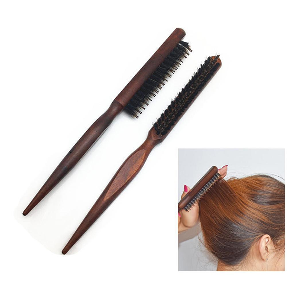 XY Fancy Hair Brush Wood Handle Boar Bristle Beard Brush Comb Detangling Pointed Tail Comb