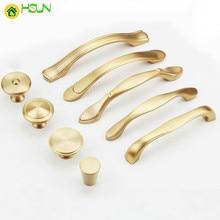 1 pc Golden solid brass Door Handles Wardrobe Drawer Pulls Kitchen Cabinet Knobs Fittings for Furniture Hardware