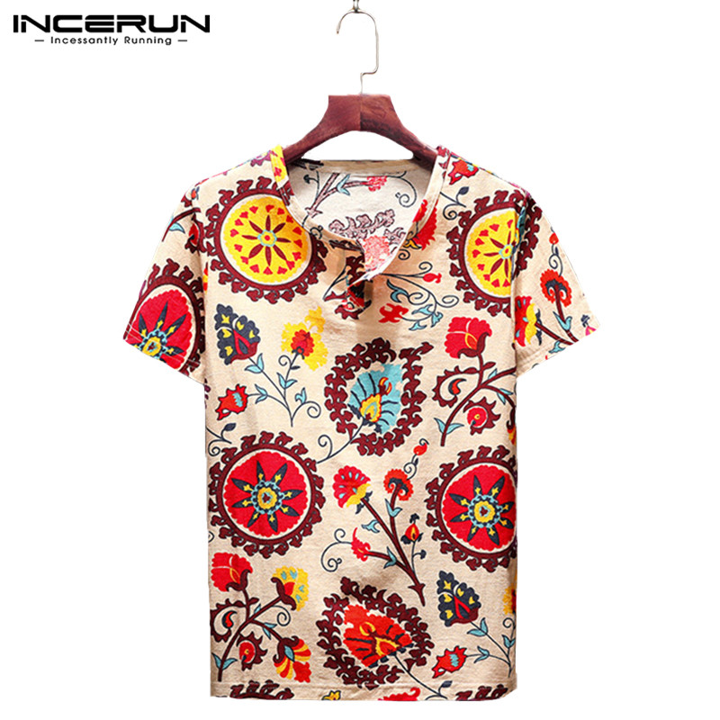 INCERUN Summer Vintage Cotton Men T Shirt Print V Neck Slim Fit Casual Tee Tops Short Sleeve Ethnic Style T-shirt Men Plus Size