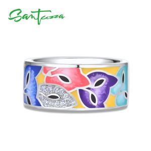 Image 4 - SANTUZZA Đồ Trang Sức Set Đối Với Phụ Nữ 925 Sterling Silver HANDMADE Đầy Màu Sắc Men Dễ Thương Fox Trắng CZ Vòng Earrings Set Đồ Trang Sức Thời Trang