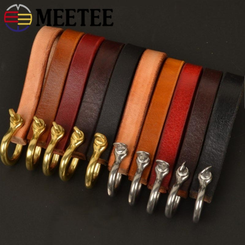 Meetee 8*1cm Pure Cowhide Keychain Buckles Metal Brass Stainless Steel D Shackle Ring Buckle DIY Bags Leather Craft Accessories