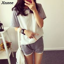 Two pieces sets summer sets for women 2018 tracksuit cotton casual short sleeve t-shirt + shorts suits sweatshirt summer suits цена