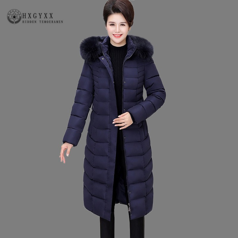 7XL 2019 Fur Collar Quilted Coat Long Winter Puffer Jacket Woman   Parka   Female Cotton Outwear Plus Size Warm Snow Wear Okd735